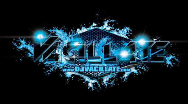 DJ Vacillate Logo Design Black And Blue Speaker Grill Edition
