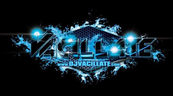 DJ Vacillate Logo Design Black And Blue Speaker Grill Edition