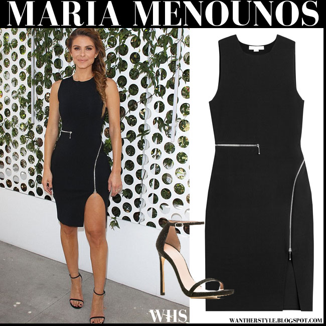 Maria Menounos in black zipper mini Alesander Wang dress and black sandals Stuart Weitzman Nudist what she wore e news