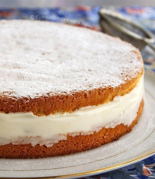 Бисквитный торт с творогом фото