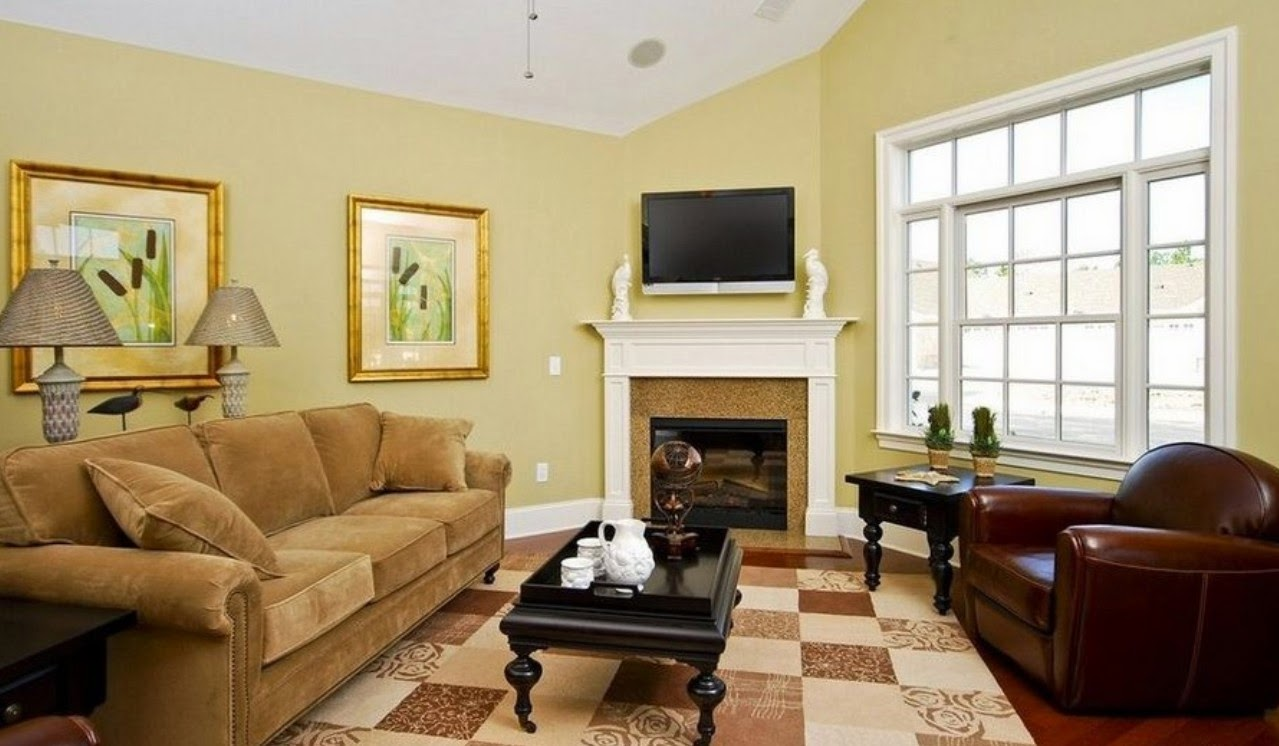 Blue and yellow living room with brown couch - Living Room With Pale Yellow Walls Euskal Net