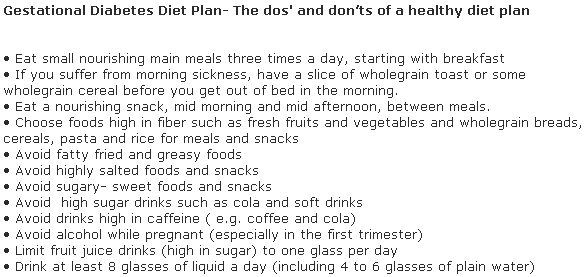 Gestational Diabetes Diet Plan- The dos' and don'ts of a healthy diet plan
