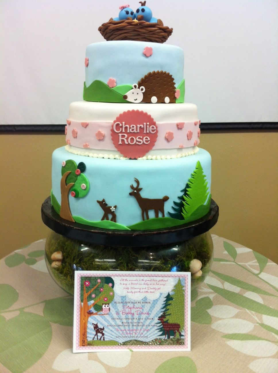cake dreams woodland animals baby shower cake