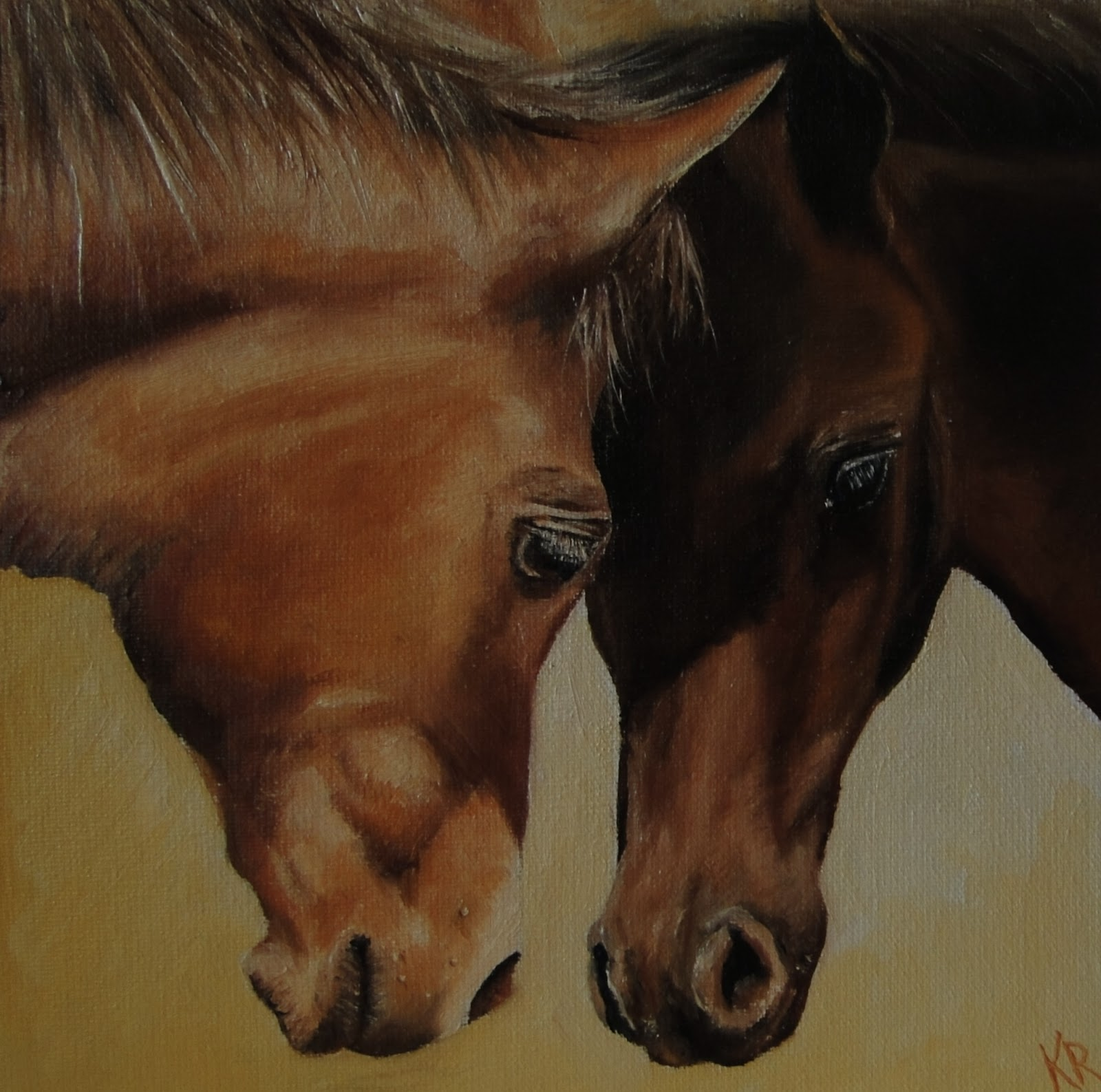 head-to-head, two foals, oil painting of horses, a pet portrait by karen, devon UK