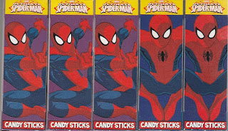 Back view of Ultimate Spider-Man Villains Candy Sticks boxes set two