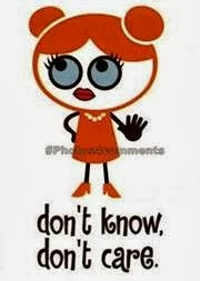 Don't know , don't care - cartoon girl image