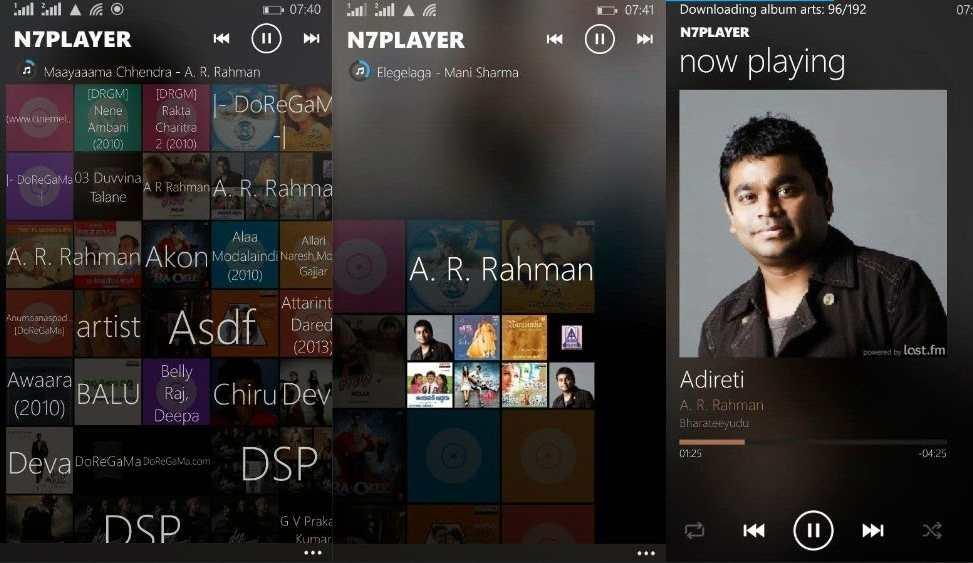 Pemutar musik android n7player