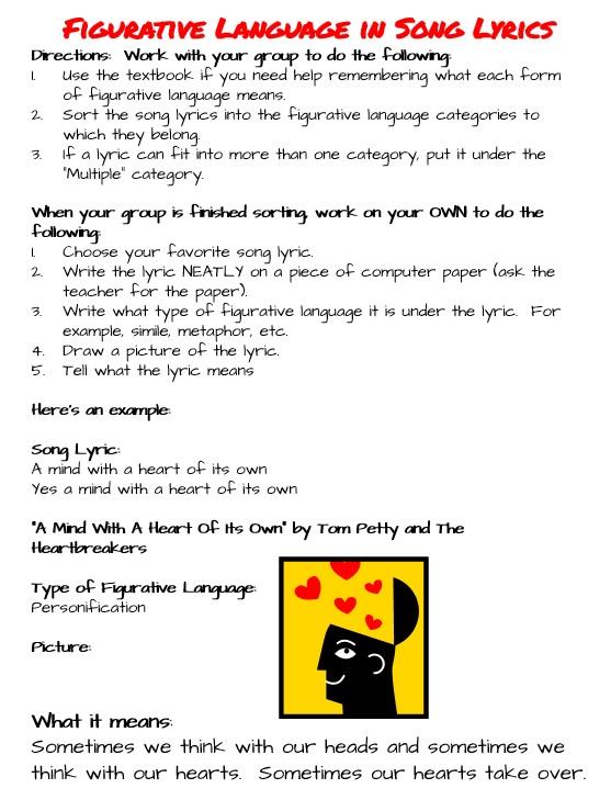 Beg Borrow And Teach Figurative Language With Song Lyrics