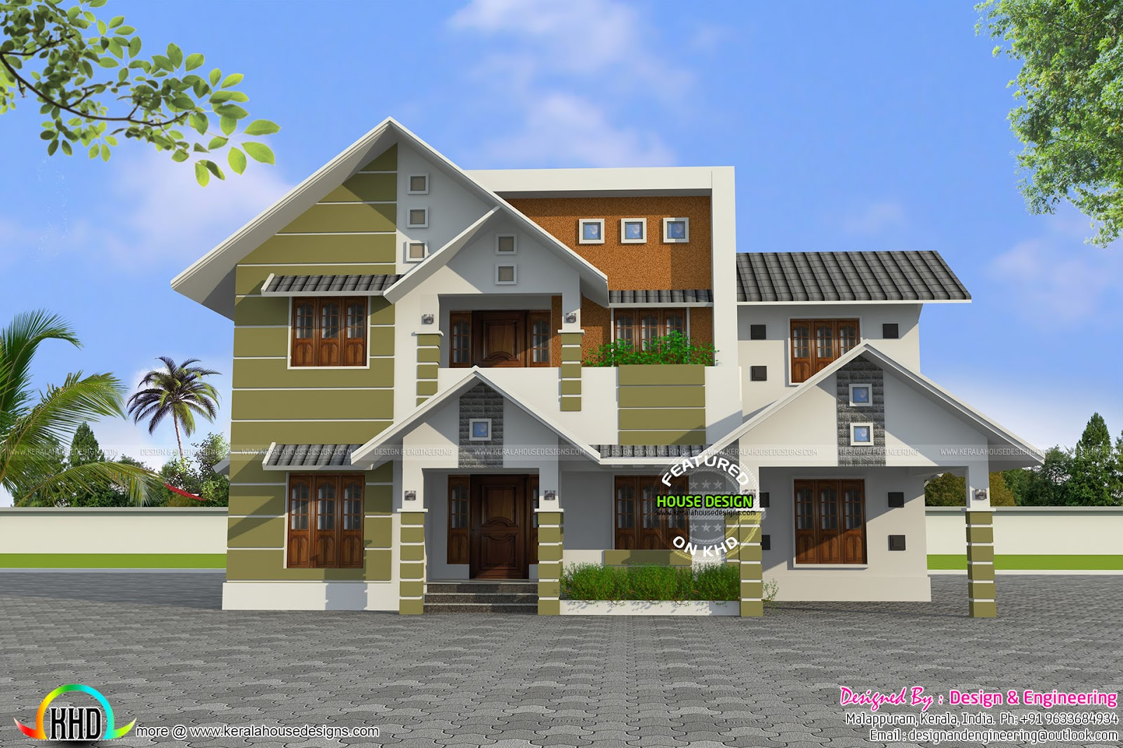 modern style sloping roof house plan kerala home design