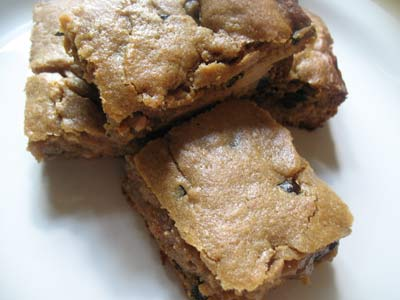 Gooey Peanut Butter Brownies with Carob Chips