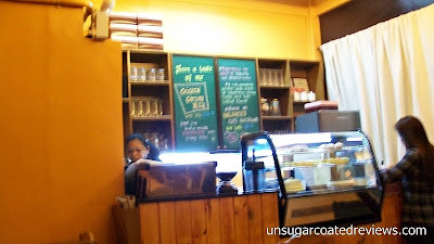 counter and cake display at The Lazy Bean