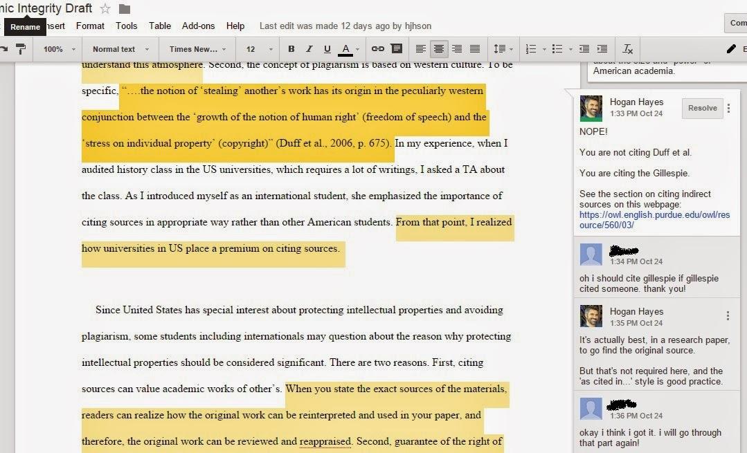 writing feedback