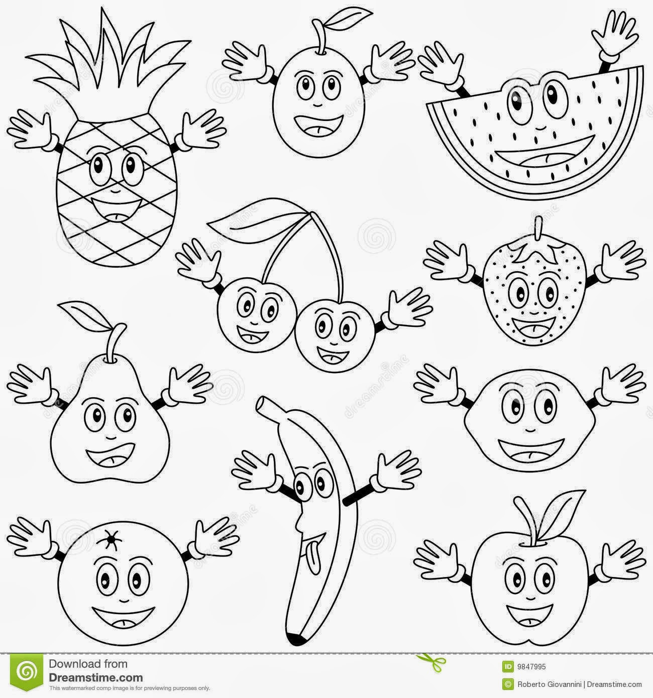 simple fruit coloring pages - photo#43