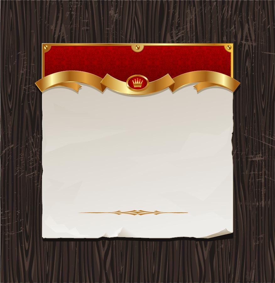木目に置いた金色のリボン飾りのメモ用紙 gold ribbon of wood background イラスト素材