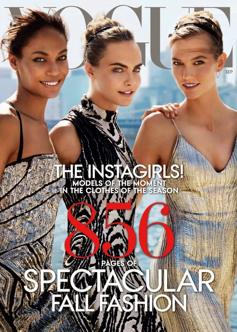 Joan Smalls, Cara Delevingne, and Karlie Kloss Cover The September Issue of Vogue