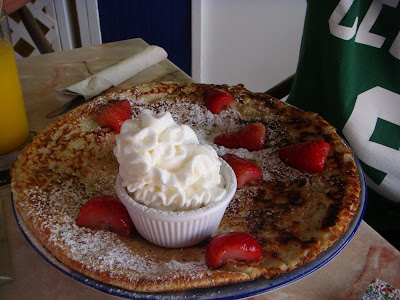 Strawberries and cream pancake at Linda's Pancake House, Aruba