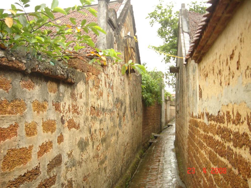 Hẻm nhỏ với các bức tường được xây bằng đá Tổ Ong