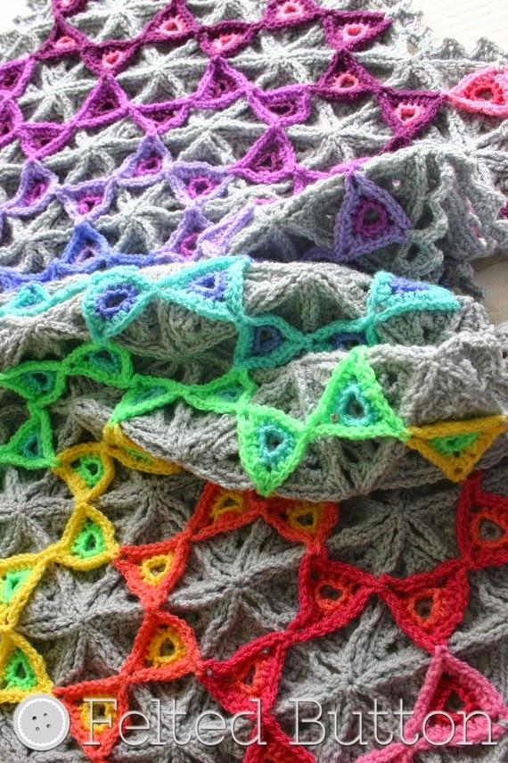 Free Crochet Thermal Blanket Pattern  : Felted Button - Colorful Crochet Patterns: Prism Blanket ...