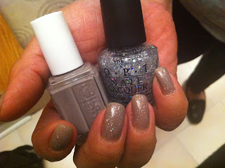 essie+chinchilly+opi+servin+up+sparkle+4 Essie Chinchilly with OPI Servin Up Sparkle
