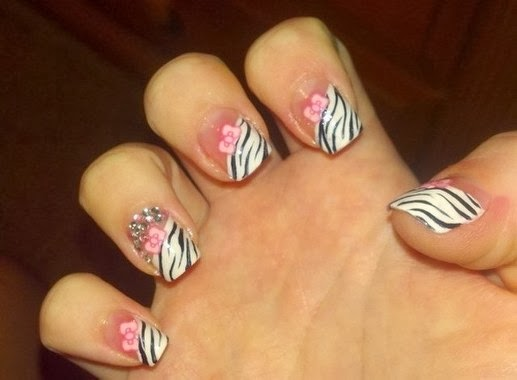 Pink Zebra Nail Tip Designs for Cute Girls
