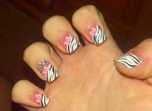 Pink Zebra Nail Tip Designs for Cute Girls