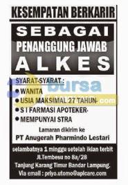 Lowongan Kerja Lampung, 17 Agustus 2014 - PT. Anugerah Pharmindo Lestari