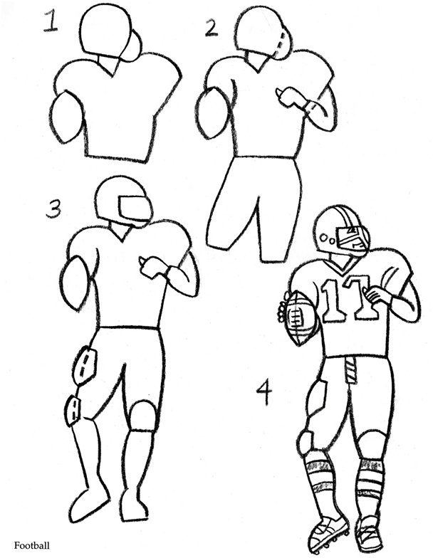 How to Draw a Football Player title=
