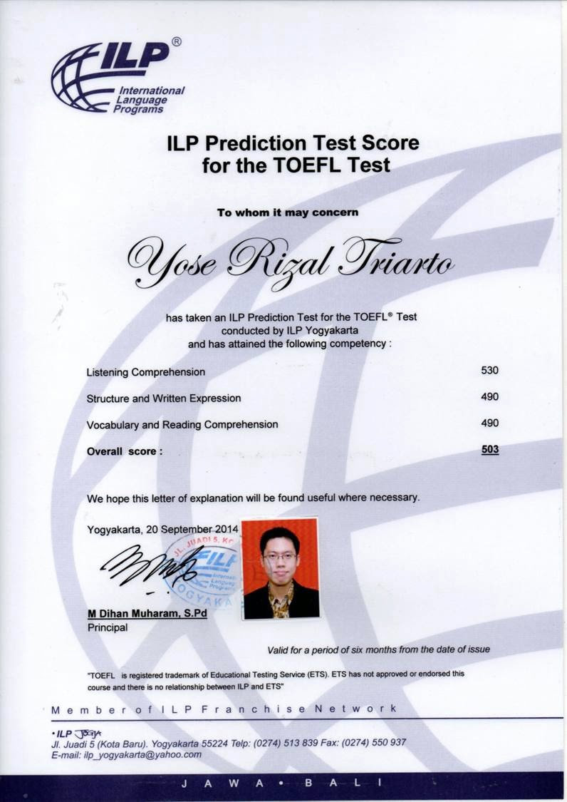 ILP Prediction Test Score for the TOEFL® Test Overall Score 503 20 Sept 2014