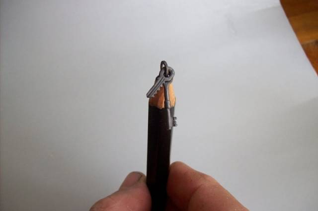 Hungarian artist and deviantART user cerkahegyzo carves intricate miniature sculptures from a single lead pencil. The artist says it's a hobby and form of relaxation for him and that he carves them in his free time. During the day he works as a professional tool-maker in Hungary.