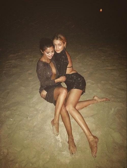 Sexy! Selena Gomez Glitter partner look with Gigi