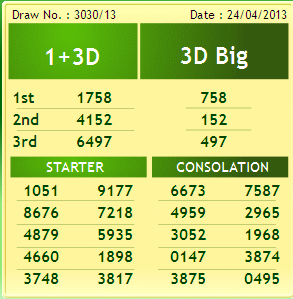 ,Magnum,Singapore Toto: 4D,1+3D and 6D Result As Of 24th April 2013