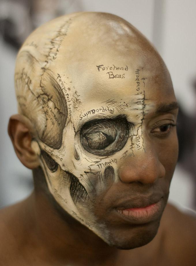 Cabeza humana pintada como Grey´s Anatomy.