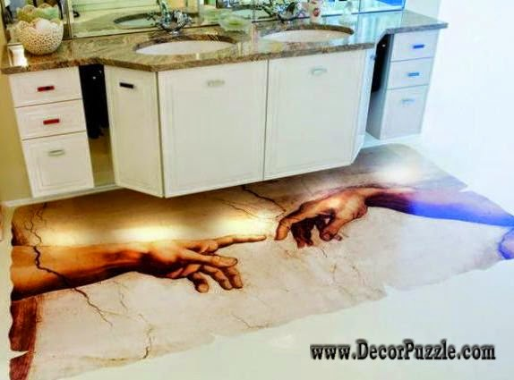 3d bathroom floor murals designs and self leveling floors - Unique floor covering ideas ...
