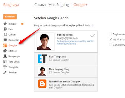 Menu Google+