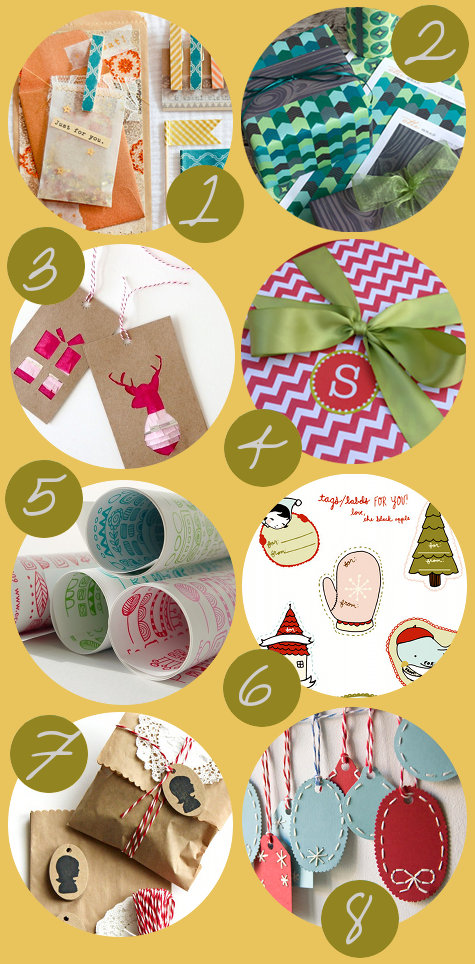 DIY Christmas Gift Wrap Ideas and Free Printable Gift Wrap and Tags