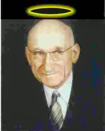 Photo of Robert Schuman with halo on head commemorating his being considered for Sainthood by Pope John Paul II and evidencing the significance of the Catholic Church in fulfilling Bible Prophecy-Revelation 17