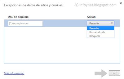 Excepciones de datos de sitios y cookies