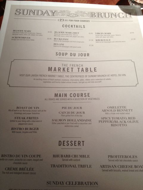 Hotel Du Vin Sunday Lunch Menu
