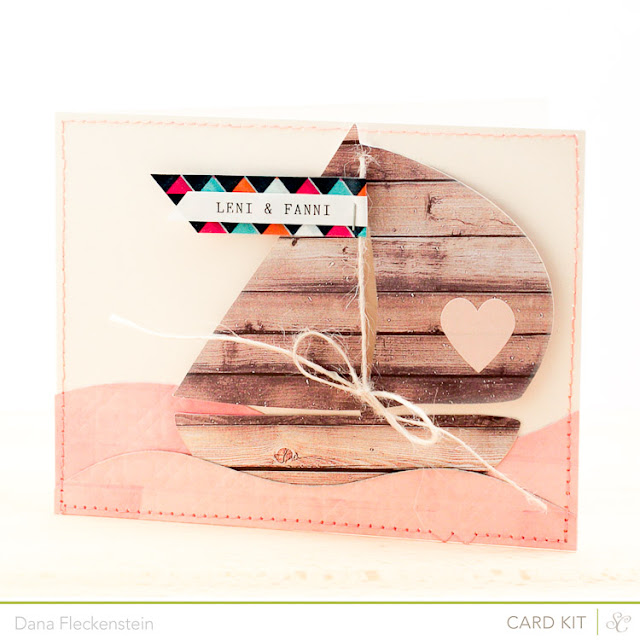 Welcome Girl Twins Handmade Card with a Nautical Theme using the Studio Calico Front Row Kit by pixnglue