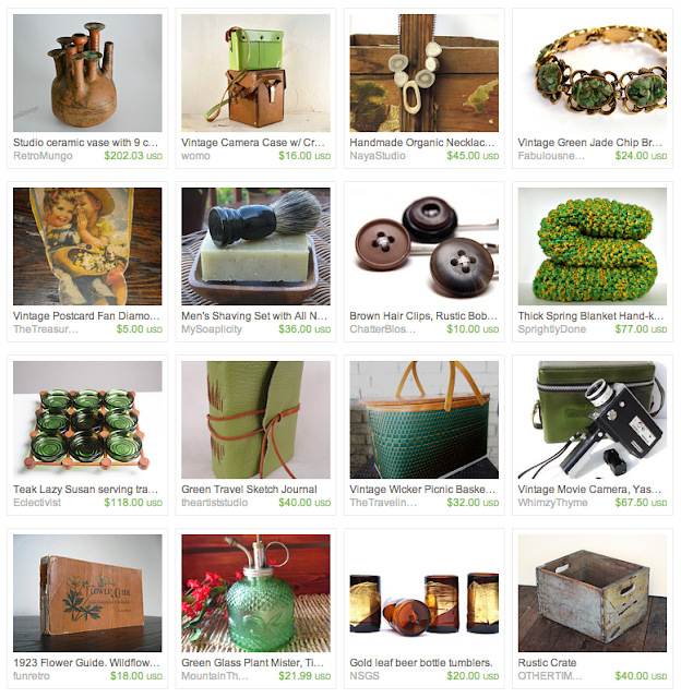collection of spring gifts, vintage home decor, jewelry, hair accessories