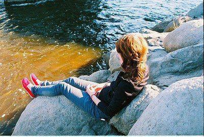 Sad And Alone emo Girl waiting on stone