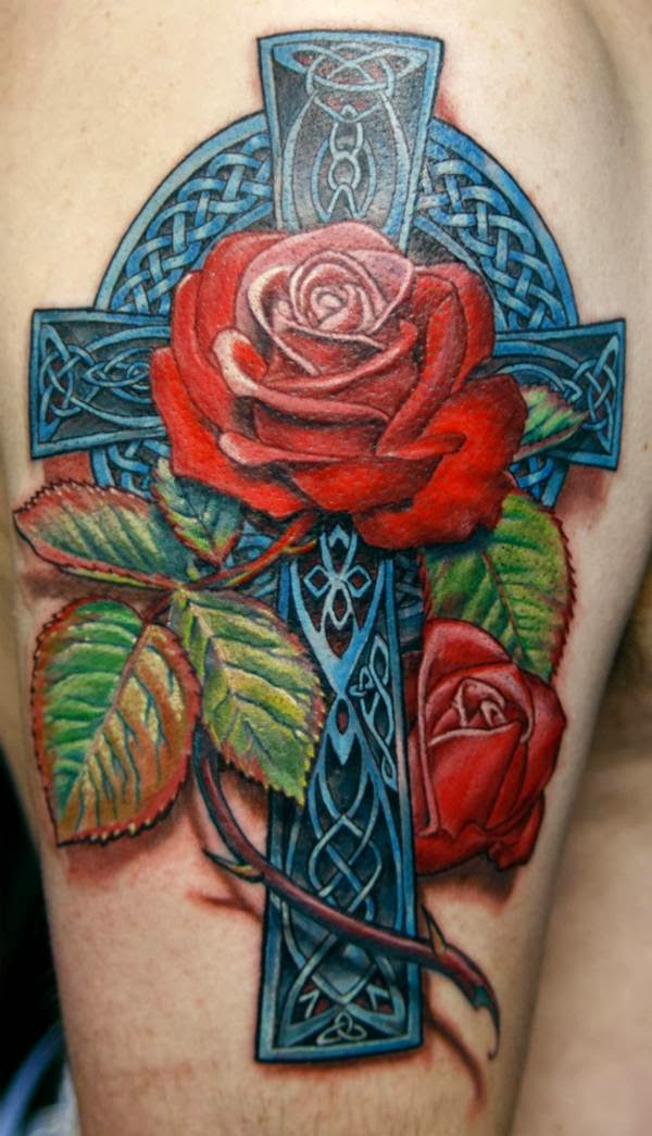 Celtic Cross tattoo is one of religious tattoos, which is the symbol of Christianity. When it is integrated with rose, it gives additional meaning – love.