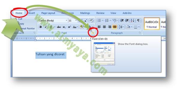 Gambar: cara memunculkan dialog Font untuk membuat tulisan yang dicoret di dokumen microsoft word