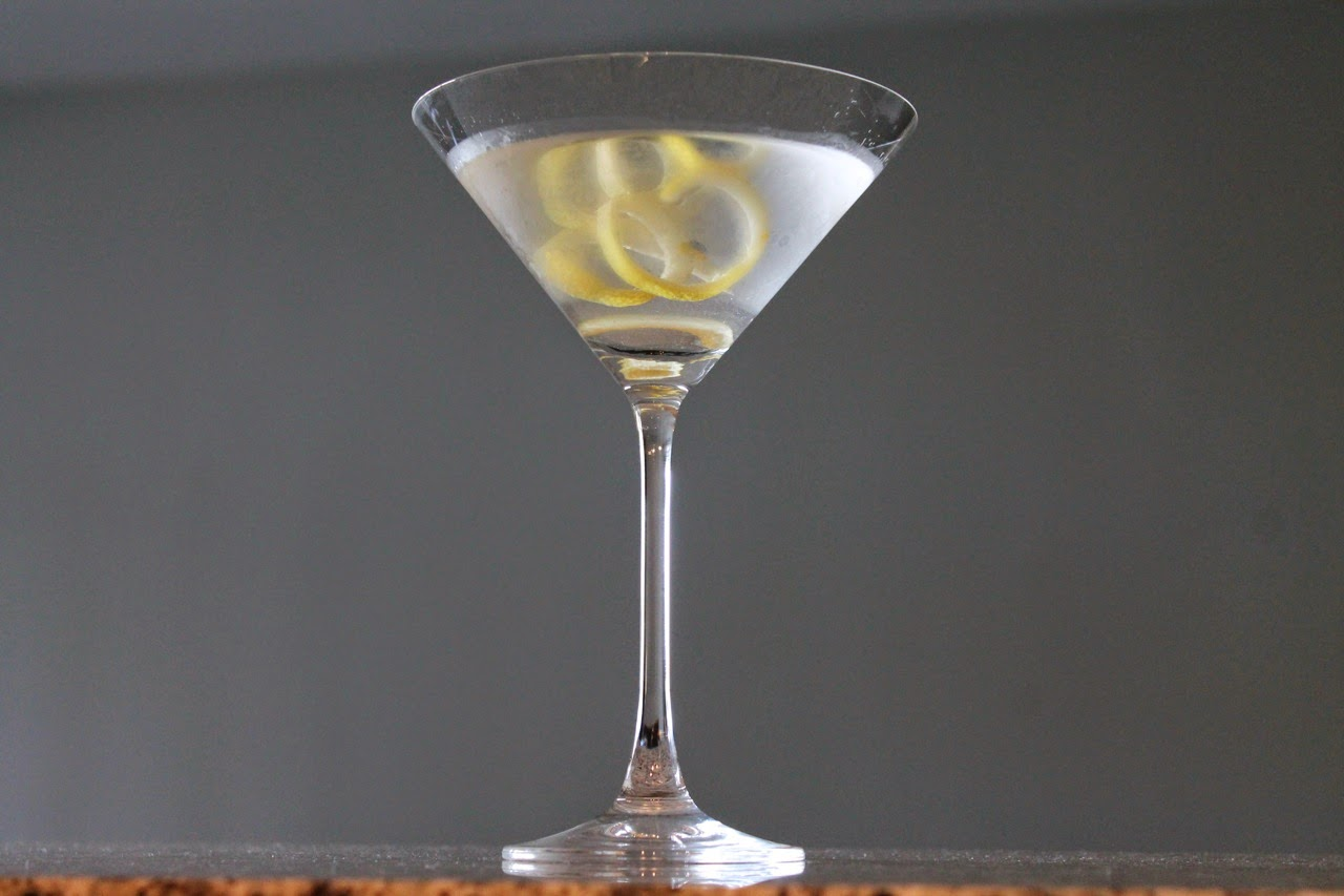 Classic Dry Gin Martini with Lemon Twist