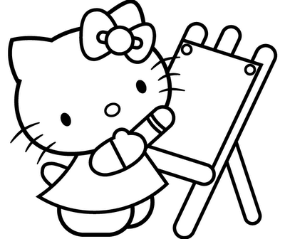 Coloring Picture Of Hello Kitty Japanese Cat