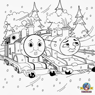 Xmas train James and Thomas the tank engine coloring winter landscape frosty countryside woodland