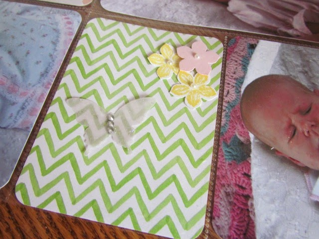scrapbook pocket card with glitter butterfly and flowers on watercolor chevron paper