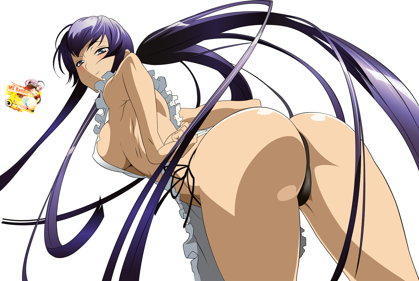 Tags: Anime, Render,  Busujima Saeko,  Hadaka Apron,  Highschool Of The Dead,  PNG, Image, Picture