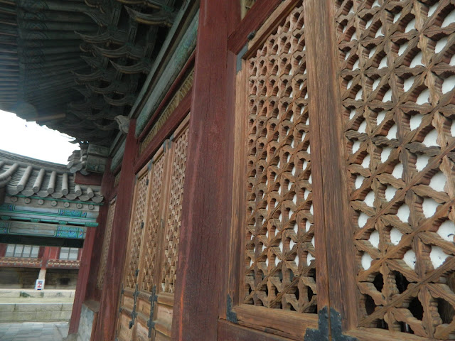 Beautiful patterns on the doors of the Changgyeong palace in Seoul