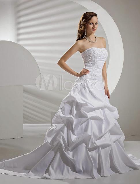 Applique Satin Taffeta Lace Wedding Dress